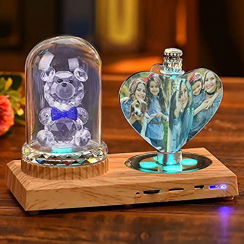Luz de noche de corazón personalizada Lámpara de cristal 3D Imagen de foto personalizada Luz led grabada de 7 colores con base de madera Bluetooth Regalo personalizado para mujeres Decoración