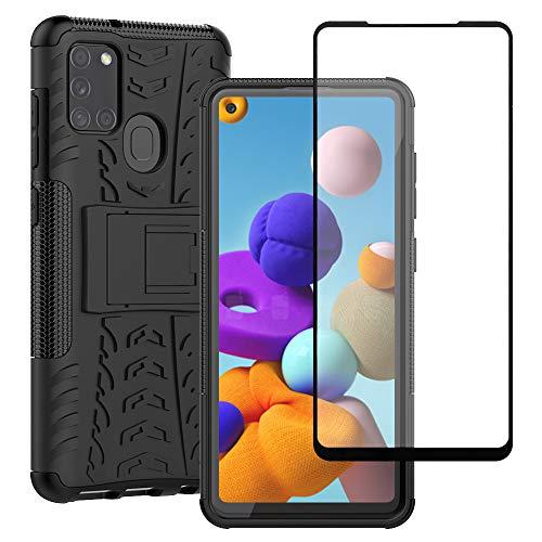 Yiakeng Handyhülle für Samsung Galaxy A21s Hülle mit Schutzfolie, Stoßfest Schlank Silikon 360 Grad Schutz Mit Ständer für Samsung Galaxy A21s (Schwarz)