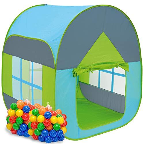 LittleTom Bällebad Zelt 200 Bälle Kinderzelt 90x90x110cm Baby Bällchenbad Blau