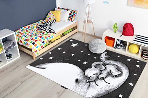 Kindertapijt Petit voor babykamers, Speel vloerkleden, Kinderkamer, Trompet Olifant Sterren Grijs 140x190 cm