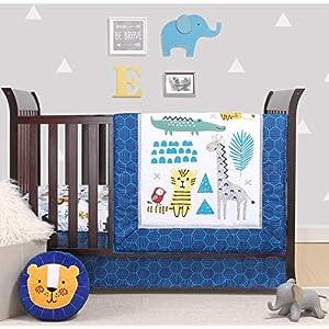 The Peanutshell Safari Party Crib Bedding Set for Baby Boys or Girls | 3 Piece Nursery Bed Set | Crib Blanket, Crib Sheet, Crib Skirt Included