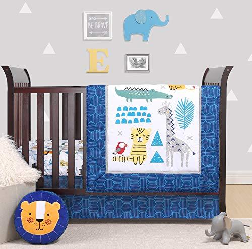 The Peanutshell Safari Party Crib Bedding Set for Baby Boys or Girls   3 Piece Nursery Bed Set   Crib Blanket, Crib Sheet, Crib Skirt Included