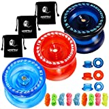 CHEE MONG Responsive Yoyo Pack of 3, MAGICYOYO K1 Yoyo Dark Blue, Red, Crystal Blue Yoyo for Kids Beginner with 3 Yoyo Bags, 9 Yoyo Replacement Strings