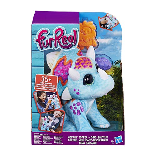 Hasbro FurReal Friends E7963EU4 furReal Topper, Mein Baby-Triceratops, interaktives Plüschtier, mehr als 35 Geräusch-und Bewegungskombinationen, Mehrfarbig