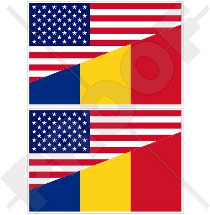 USA United States of America et drapeau de la Roumanie, américain et roumaine en vinyle de 10,2 cm (100 mm) Bumper Stickers, décalcomanies X2