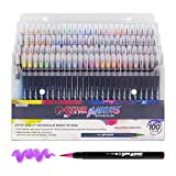 100 Color Super Markers Watercolor Real Brush Pen Set with 4 Bonus Water Brush Pens - Soft Flexible Brush Tips - Fine & Broad Lines, Vibrant Colors - Coloring Books, Manga, Comic, Calligraphy, Art
