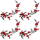 SinessBuying 4pcs of Sakura Cherry Blossom Embroidery Flowers Iron on Patches Applique Patches for Wedding Dress Arts Crafts DIY Decor,Jeans,Sweater T Shirt(Pink Color, 6pcs)