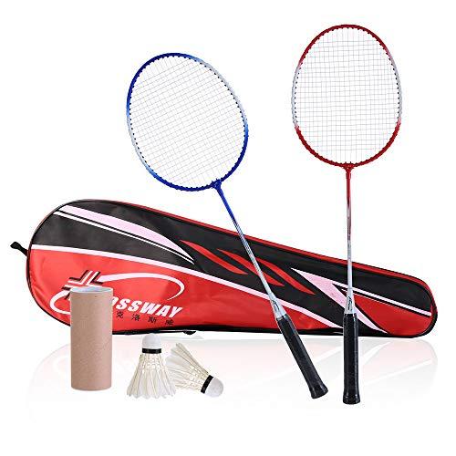 WLL Kit de bádminton de Fibra de Carbono, Raqueta de bádminton Profesional Ligera y Resistente, para Jugadores Profesionales, Principiantes, Llevar