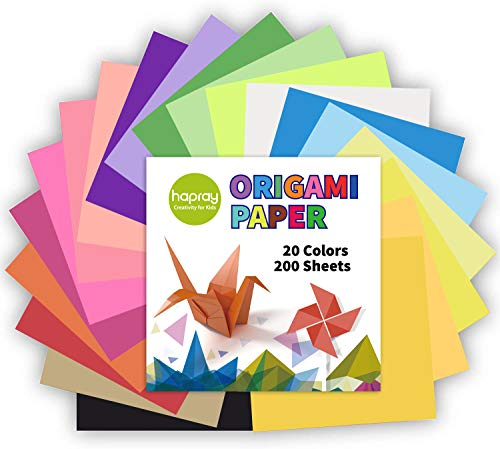 Origami Paper 20 Vivid Colors Double-Sided 200 Sheets Premium Quality 6-Inch by 6-Inch for Arts and Crafts Projects - Same Color Both Sides