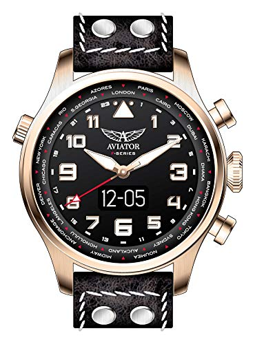 AVIATOR F-Series AVW79656G420 - Reloj Inteligente para Hombre (Correa de Piel), Color Negro