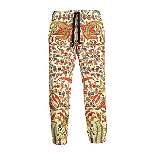 Antique Retro Flowers Animal Motif Indian Mens Sweatpants Casual Sport Pants with Pockets Breathable Active Joggers for Workout Athletic Training Trousers