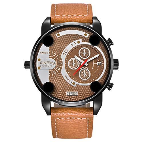 TTLOVE Herren Uhr Chronograph Analogue Quartz LED Digitaluhr Wasserdicht Business Zifferblatt Armbanduhr Sportuhren mit Leder Armband