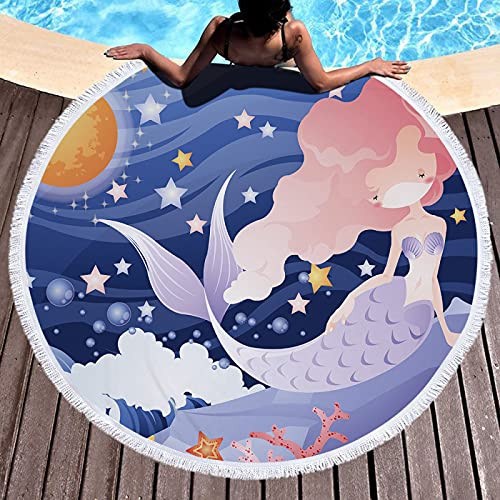 Toallas De Playa De Dibujos Animados De La Serie Ocean, Tapetes De Playa Redondos, Mantas De Playa De Microfibra, Toallas De Piscina Absorbentes De Secado Rápido 150 * 150cm