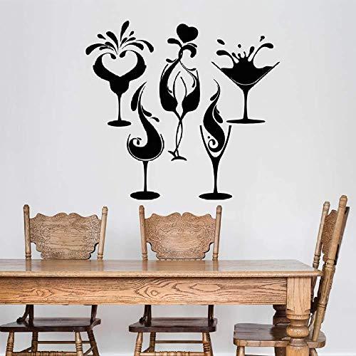 Bar Wandtattoos Cocktailglas Weingläser Getränkeshop Restaurant Dekoration Tattoo Wandaufkleber Tapeten Wandkunst Aufkleber Dekor 74x80cm