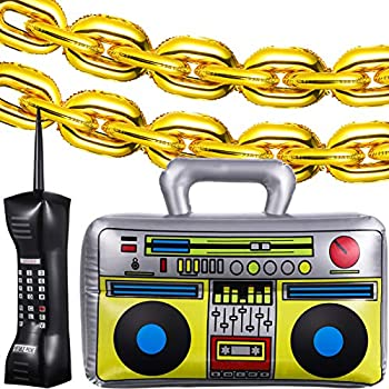 Gold Inflatable Foil Chain Balloons and Inflatable Radio Boom Box Inflatable Mobile Phone Decoration Set 80 s 90 s Party Decorations for Rappers Hip Hop Costume Accessory Party Supplies