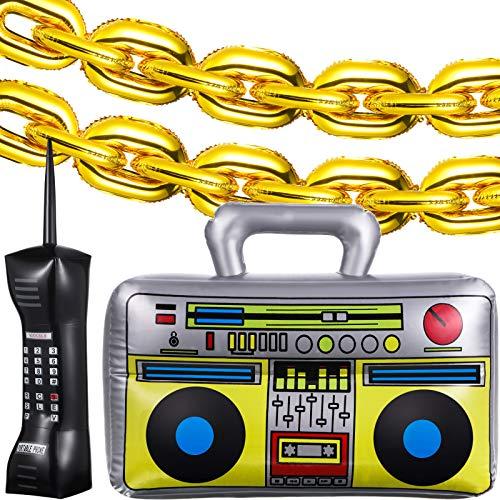 Juegos de Globos de Cadera de Aluminio de Inflable Oro y Radio Boombox Inflable Decoración Inflable de Teléfono Móvil, Decoraciones de Fiesta de Los 80 y 90 para Accesorios Disfraz Hip Hop Raperos