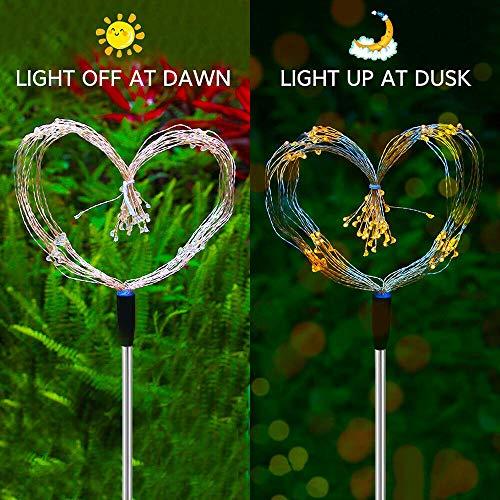 Outdoor LED Solar Fireworks Lights 90/120/150 LEDs Waterproof String Fairy Light for Home Garden Street Christmas Decoration 2 Pack (Multicolor, 90 LEDs)