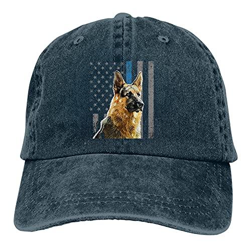vdcucc Thin Blue Line Flag K9 German Shepherd Police Dog Hat Sun Hats Comfortable Adjustable Baseball Cap for Men Women Adults