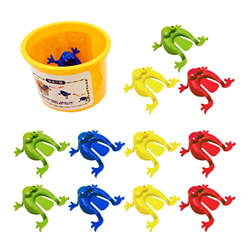 Toyvian 12 Pieces Frog Jumping Toy Finger Pressing Funny Bouncing Frog Toys Kids Novelty Frogs with A Bucket