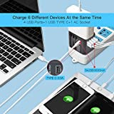 Reiseadapter Reisestecker Weltweit 224+ Ländern 5.6A Fast Charge Universal Travel Adapter mit 4 USB Ports+Typ C und AC Steckdosenadapter Internationale Reiseadapter für USA Europa UK Australien Usw - 4