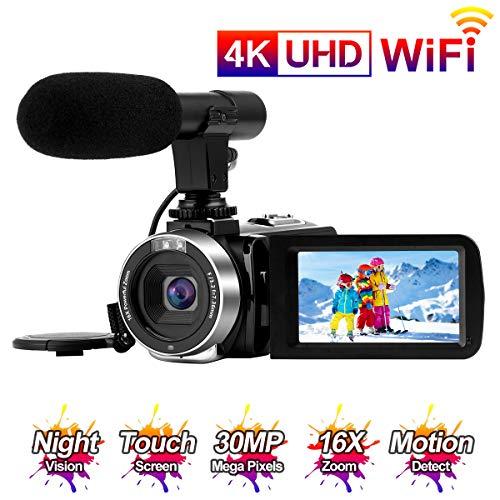 Videocamara 4K Cámara de Video 30MP WiFi Videocámara Vlogging con Pantalla...