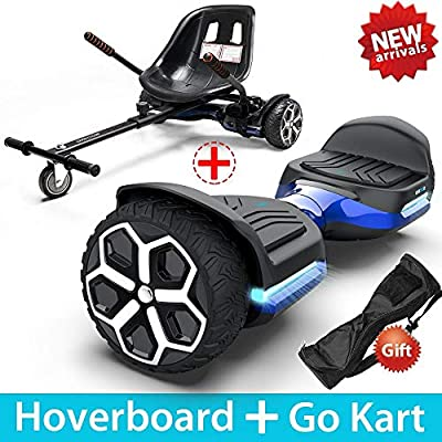 "Gyroor T581 Hoverboard 6.5"" Off Road All Terrain Hoverboards with Bluetooth Speaker&LED Lights Two-Wheel Self Balancing Hoverboard with Kart Seat Attachment UL2272 Certified for Kids & Adults(Blue)"