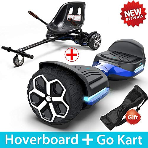 GYROOR T581 Hoverboard 6.5' Off Road All Terrain Hoverboards with Bluetooth Speaker&LED Lights Two-Wheel Self Balancing Hoverboard with Kart Seat Attachment UL2272 Certified for Kids & Adults(Blue)
