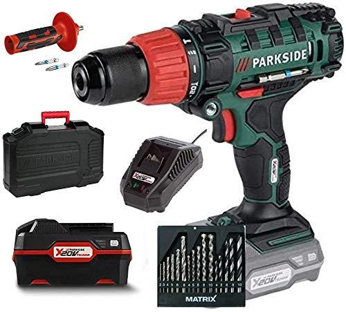 HKM-Set Parkside - Trapano avvitatore a percussione a batteria a 2 velocità, PSBSA 20-Li x 20 V con batteria da 4,0 Ah e caricatore, in valigetta per il trasporto e set di punte Matrix