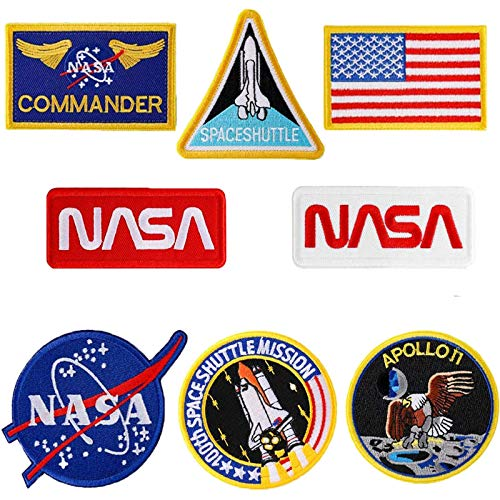 8 Pcs NASA Iron On or Sew On Embroidery Patches,USA Flag Patch,NASA Office Logo