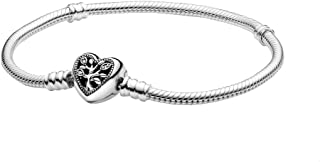 Snake chain sterling silver bracelet and heart clasp with clear cubic zirconia and black enamel