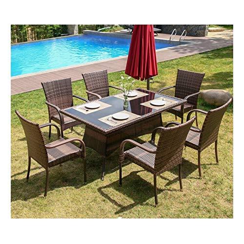 WANGQW Juego de sillas de Mesa de conversación de Patio, Muebles de Patio Muebles de jardín de ratán Conjuntos de Mesa de Centro de Vidrio Conversación para jardín al Aire Libre Junto a la Piscina