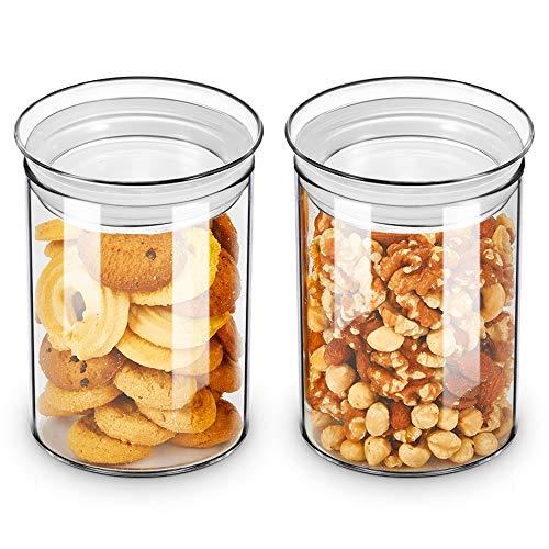 ZENS Vorratsgläser Vorratsglas Set, Borosilikatglas Vorratsdose of 2er mit Luftdichtem Deckel, 800ml Breiter Mund Vorratsdosen Glas Keksdose für Keks or Süßigkeiten