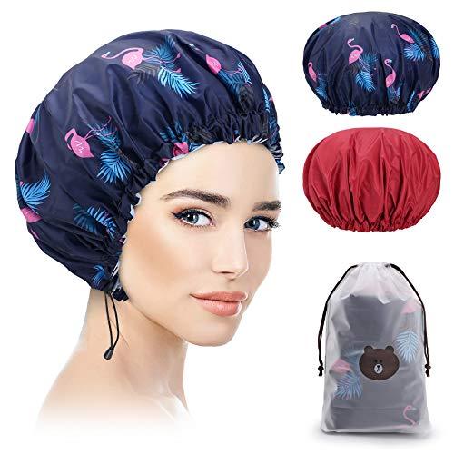 Bonnet de Douche 2 Pièces, Imperméable Bonnet de Bain élastiques Chapeau Réutilisables, Grand Accessoire Cheveux Douche pour Les Femmes Filles de Douche Spa + rouge +Flamant