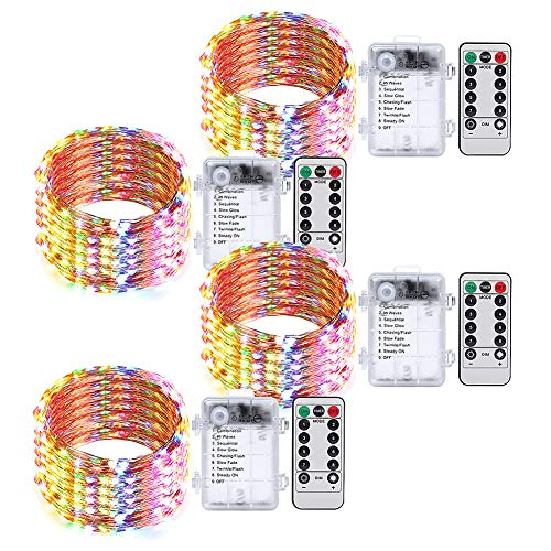 Umi. by Amazon - Guirnalda de 50 luces LED decorativas multicolor, 5m, pilas, mando a distancia con temporizador, cable decorativo impermeable para interior y exterior (paquete de 4)