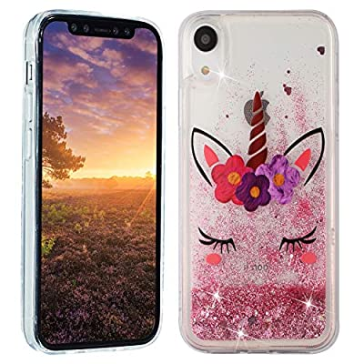 HopMore Funda Silicona para iPhone XR Brillante Glitter Liquido 3D Purpurina Transparente Dibujo Carcasa Blando Resistente Caso para Chicas Mujer - Pink Unicornio