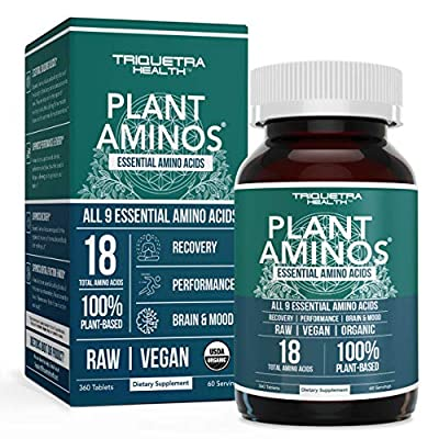Plant Aminos Organic Essential Amino Acids (EAAs) & BCAA - 100% Plant-Based Raw, Vegan - All 9 Essential Amino Acids with 18 Total Amino Acids (360 Tablets)