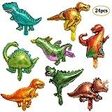 REYOK 24 Pz Dinosauri Palloncini Foil Ballons di Dinosauro per Natale Compleanni Festa Matrimoni Party Decorazione Palloncini in Foglio Elio