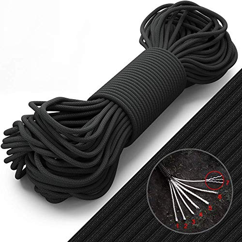Grand Way Paracord 100 ft  Type III Black Paracord 5504mm Nylon Rope MilSpec para Cord  Camping Rope Hiking Fishing Survival Boy Scout Parachute Cord  Outdoor Hammock 550 Paracord 016