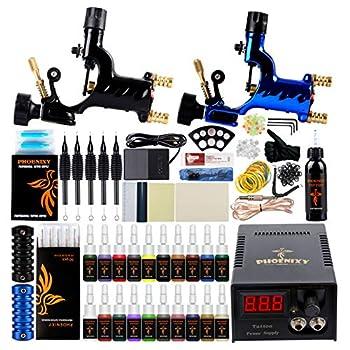 Tattoo Kit Phoenixy Tattoo Machine Kit 2 Dragonfly Rotary Complete Shader & Liner Tattoo Motor Gun Kits 20+1 Tattoo Inks Tattoo Supply 50 Needles For Artists