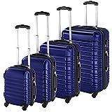 TecTake Set di 4 valigie ABS rigido trolley valigia bagaglio a mano borsa elegante - disponibile in diversi colori - (Blu | no. 402027)