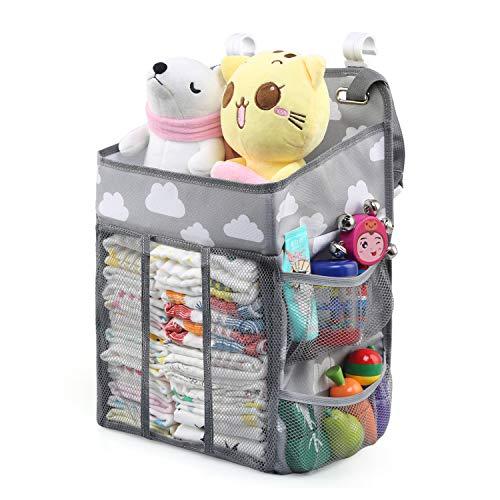 LinStyle Organizador de Pañales, Bebé Colgante Organizador, Plegable Bolsa de Almacenamiento para Colgar Pañales de Cuna, Cesta de Regalo para Recién Nacido, Gris