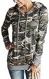 Little Hand Damen Kapuzenpullover Langarm Casual Sweatshirt with Pocket, Camouflage, L