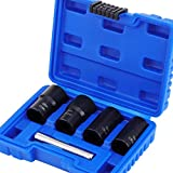 HSEAMALL 5PCS Twist Socket Set,1/2 Inch Drive Damaged Bolt Remover, Grip Nut Extractor Socket Sets for Removal of Locking Wheel Nuts 17mm, 19mm, 21mm and 22mm