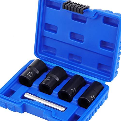 HSEAMALL Juego de 5 zócalos de giro, removedor de pernos dañados de 1/2 pulgada, juego de extractores de tuercas de agarre para extraer tuercas de rueda de bloqueo de 17 mm, 19 mm, 21 mm y 22 mm.