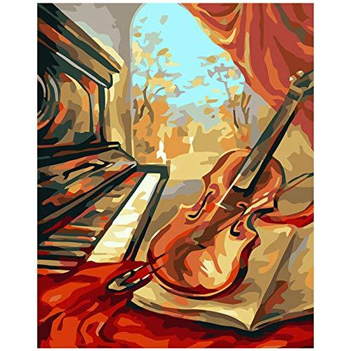 Wxswz schilderij op cijfers voor volwassenen, om te knutselen, viool, natuur dode decoratie voor de woonkamer, afbeelding op canvas, cadeau voor kinderen, 50 x 65 cm zonder lijst