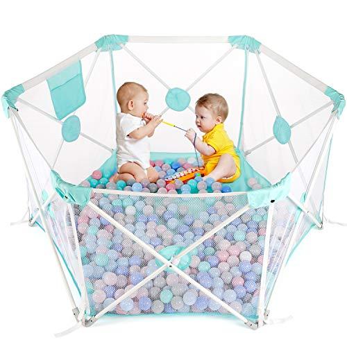 Baby Laufstall, Laufgitter, Kleinkind 6-eckig Krappelgitter mit atmungsaktivem Netz, Faltbar und Tragbar für drinnen und draußen (weißblau)