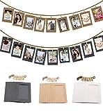 EasyLife - Marco de fotos de papel kraft, con 30 marcos de fotos, 30 clips, 6 clavos y 3 cuerdas de cáñamo, para decoración del hogar, decoración de pared, regalos de inauguración de la casa