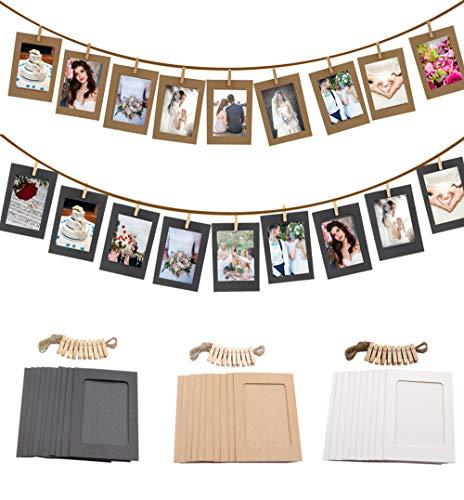 Eazylife Fotorahmen, mit 30 Stück 4 x 6 Zoll Kraft-Fotorahmen, 30 Stück Clips, 6 Stück nahtlosem Nagel und 3 Hanfseilen, für Wohn- und Apartmentdekoration, Wandbehangdekoration