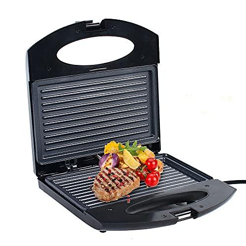 Parrilla de contacto para sándwich, parrilla eléctrica de mesa para planchas de grill acanaladas por ambos lados, parrilla para panini, tostadas, filetes, verduras, 750 W