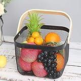 zyeziwhs Cesta de almacenamiento de alambre de metal, cesta de almacenamiento de frutas de malla con asas de madera para el hogar, cocina, baño, despensa, decoración